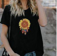 Bohemia стиль подсолнечника перья печать женские футболки с коротким рукавом o шея лето тройник топы мохера