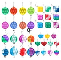 US Stock 24h Simple Sleutelhanger Push Bubble Fidget Speelgoed Decompressie Toy Fidgets Sleutelhanger Anti Stress Board BJ10