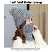 Soft Warm Caps Stretchy Outdoor Ski Cycling Cap Scarf SetWomens Winter Knitting Beanie Hats Solid Pompom & Masks