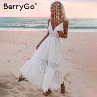 BerryGo branco pérolas sexy mulheres vestido verão 2021 oco out bordado maxi vestidos de algodão festa de noite longa senhoras vestidos