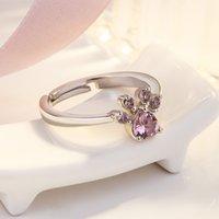 Anelli della zampa del cane del gatto sveglio per le donne degli anelli romantici dell'animale romantico CZ cuore di colore dell'oro della rosa di colore di oro rosa 968 T2