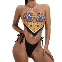 Fashion women's underwear Bikini Swimsuit lace up high waist sexy solid color split women's swimsuit underwear 51701#