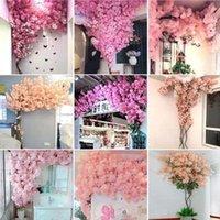 Decorative Flowers & Wreaths Artificial Cherry Tree Pink Branch Silk Flower DIY Wedding Decoration Wall Home Outdoor
