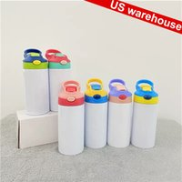 Local Fast Delivery! 12oz Sublimation Sippy Cups Kid Tumblers Flip Lid Water Bottle Stainless Steel Double-Wall Insulated Vacuum Easy Sub Drinking Milk Mugs in Bulk