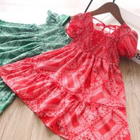 Girl's Dresses Baby Girls Clothes Child Summer Cotton Short Sleeve Flower Beach Princess 2-6Y B5395
