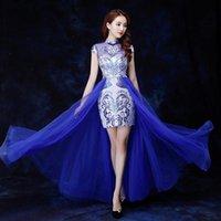 Ethnic Clothing Mandarin Collar Print Flower Evening Party Dress Gown Blue Sexy Mesh Qipao 2021 Chinese Style Cheongsam Bandage Vestidos