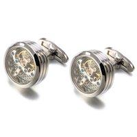 High quality Movement Tourbillon Cufflinks For Mens Wedding Groom Mechanical Watch Steampunk Gear Cufflinks Relojes Gemelos CJ191116 104 Q2