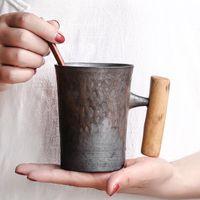 Kupalar Yaratıcı Japon Seramik Kahve Kupa Tumbler Paslı Sır Ile Ahşap Saplı Çay Süt Bira Su Kupası Ev Ofis Drinkware 300ml