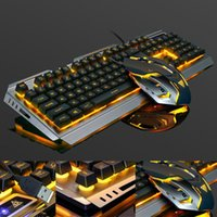 Gaming Keyboard Mouse Mechanical Feeling RGB LED Backlit Gamer Keyboards USB Wired For Game PC Laptop Computer#G Combos