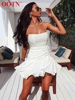 OOTN Zarif Katı Peplum Kısa Elbise Kadınlar Seksi Spagetti Kayışı Yaz Sundress Kadın Beyaz Mini Elbise Kaşkorse Beach 210413