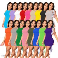 النساء عارضة فساتين 2021 الصيف مصمم أزياء المرأة جولة الرقبة أكمام مطوي اللباس الصلبة اللون مطاطا ضئيلة تنورة قصيرة ملهى ليلي