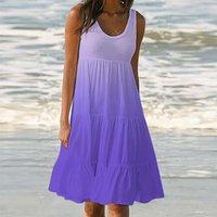 Summer Sleeveless Purple Gradient Beach Dress Womens Holiday Print Party Neck Cake 2021 Women's Swimwear