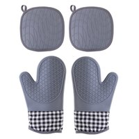 Thick Heat Resistant Silicone Glove insulating mat BBQ Grill Gloves Kitchen Barbecue Oven Cooking Mitts Grill Baking high quality