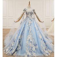 Party Dresses BGW 20219ht 2021 Formal Dress Women Elegant Pretty Appliqued Ball Gown Light Blue High Neck Crystal Muslim Evening