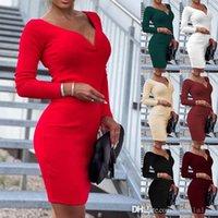 2021 Autumn And Winter New Skirt Women's Temperament Medium Length Skirts Professional V-neck Long Sleeve Dress