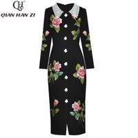 Vestidos casuais Qian Han Zi designer moda mulheres vestido vestido de renda manga longa botão retro moedas mid-bordado bordado