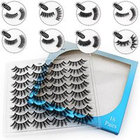 Makeup Handmade 16pairs set False Eyelash Mix style Faux 3D Mink Eyelashes Natural Thick Long Big Eye Lashes Extension