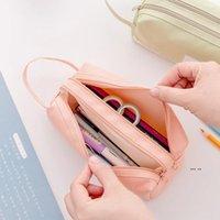 Newhigh سعة القلم حقيبة القلم دائم القضية مع مقبض المحمولة طبقة مزدوجة الطببية حقيبة تخزين القرطاسية (6 ألوان) EWA4303