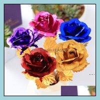 Fiori decorativi Ghirlande Festive Forniture del partito festivo GardenAstificial Stelo lungo Flower 24k Gold Plated Regali rosa per amante Wedding Chri