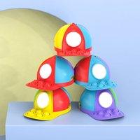 Fidget Toys Hat Porte-monnaie Porte-clés Sac de rangement Pendentif Rainbow Press Squeeze Push Sensory Bubble Silicone Décompression Décompression Toy Toy King Cadeaux Enfants Cadeaux