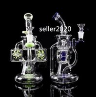 double Water wheels hookahs big glass bong klein recycler dab rigs Cigarette smoke accessory waterpipes with 14mm bowl