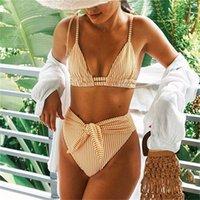 Plavky Seksi Yüksek Bel Kemeri Bikini Set 2021 Sarı Şerit Mayo Kravat Ön Kadın Mayo Kadın Plaj Kıyafeti Yüzmek Mayo 1123 Z2