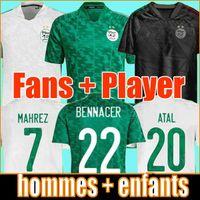 Cezayir 2021 Ev Beyaz Uzaktan Yeşil Futbol Formaları Fanlar Oyuncu Sürüm Mahrez Feghouli Bennacer Atal 20 21 Cezayir Futbol Takım Gömlek Erkekler + Çocuklar Setleri Maillot de Foot