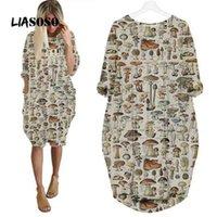 Liasoso Plant Mushroom Robe 3D Impression Girl Street Intéressant Fashion Trend Sauvage Lâche à manches longues sur la robe de genou femme 210331