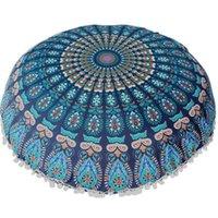 Pillow Case Large Mandala Floor Pillows Covers Round Bohemian Meditation Cushion Cover Ottoman Pouf Federe Cuscini Natale 5*