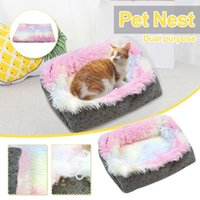 Cat Ltter Colorful Two-in-one Litter Bed Plush Pet Mattress Kennel Dog Round Winter Warm Supplies Ly Beds & Furniture