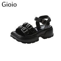 Sandali Gioio 2021 Casual Donne Summer Summer Solid Fibbia Piattaforma Femminile Open Toe Tacco alto Scarpe con Wa