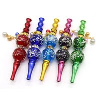 DHL Night Luminous Beads Cigarette Holder Metal pipe Pendant Multicolor Hookah Filter Tips Detachable Smoking Reusable Shisha