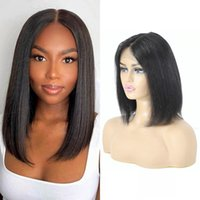Peruvian Short T Part Bob Wig Straight Lace Front Human Hair Wigs Pre-Plucked Natural Color 150% Density