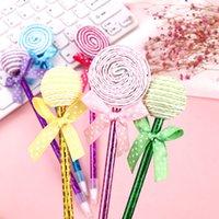 Lollipop Ballpoint Pen Flat Rund och Sfäriska Två Former Candy Modeling Student Oil Pennor Kontorstudie Stationery Presenter