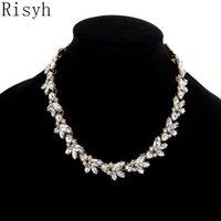 RISYH модная роскошная гречневая гречневая пачка лист темперамент короткое ожерелье цветок г-жа хокеров