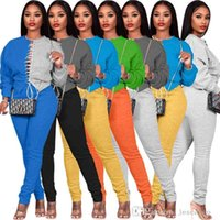 Designer Women Tracksuits Two Pieces Set Fashion Sexy Long Sleeve Stitching Contrast Bandage Sweater Trousers Outfits Plus Sizes JCK