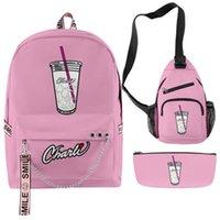 Zaini Set 3 pezzi Charli D'Amelio The Hype House Boys Girls School Bags Streetwear Sport Travel Sport Zaino per laptop all'aperto