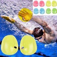 زوج تدريب السباحة قفازات الغوص أجيليتي المجاذيف اليد حمراء / أصفر / أزرق / أخضر / زعانف شفافة