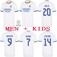 Real Madrid Jerseys 22 22 Camisa de fútbol de fútbol Alaba Hazard Sergio Ramos Benzema Asensio Modric Marcelo Camiseta Hombres + Kit Kids 2021 2022 Casemiro