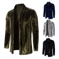 Men's Trench Coats 2021 Autumn Winter Jackets Men Pure Color Gold Velvet Coat Cardigan Long Sleeve Outwear Blouse Quilted