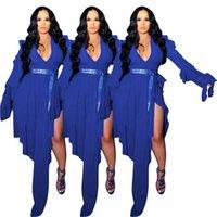 Casual Dresses INS Test Women Sexy Mesh Clubwear Deep V-neck Full Flared Sleeve Hollow Out Ruffles Irregular Split Dress 2021 Autumn