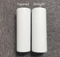 20 oz vácuo de aço inoxidável 20oz sublimação skinny tumblers em linha reta em branco branco copo skinny branco com fundo de borracha de palha da tampa