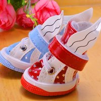 Dog Apparel Angle Bling Star Clothing Yorkie Shoes Casual Red Blue Autumn PU Pet Footwear Grooming For Chihuahua Pitbull Dachshund Puppy