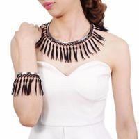 Earrings & Necklace MANILAI Bohemian Black Tassel Statement Torques Jewelry Sets Ethnic Style Choker Bracelet Party Accessories