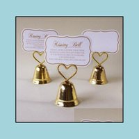 """Event Festive Supplies Home & Gardenwholesale 100Pcs Lot """"Kissing Bell"""" Card Po Heart Bell Place Card Holder Wedding Favors Party Decoration"""