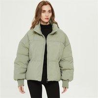 Xnwmnz ZA Женщины Сплошные Хаки Черный Негабаритные Парки Густые Зимние Карманы Самки Женский Теплый Элегантный Пальто Куртки Высокое Качество 210923