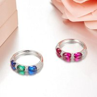 Cluster Rings SLJELY 925 Sterling Silver Three Stone Candy Women Bridal Blue Green Red Cubic Zirconia Finger Ring Fine Fashion Jewelry