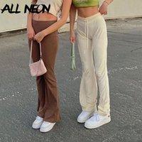 Women's Pants & Capris ALLNeon 2021 Y2K Streetwear High Waist Velvet Flare 90s Aesthetics Drawstring Full Length Trousers Jogging Casual