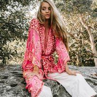 BOHO INSPIRED Summer 3 4 Sleeve Floral Printed maxi Kimono Cardigan Blusas rayon Loose women's shirts blouse beach clothes