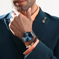 Saatı Hakiki Ultra-ince erkek Çelik Kuvars İzle Alaşım Mineral Temperli Cam Ayna Yuvarlak Takvim Su Geçirmez